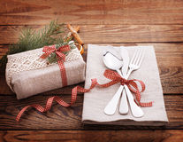 Christmas table place setting. Holidays vintage background Stock Photos