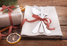 Christmas table place setting. Holidays vintage background Stock Image