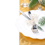 Christmas Table Place Setting In Golden Tones, Isolated Stock Image