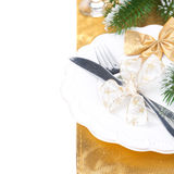 Christmas Table Place Setting, Isolated On White Stock Images