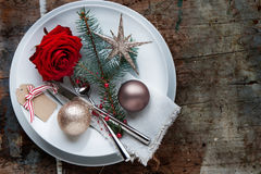 Christmas table place setting on old wooden Table Stock Photography
