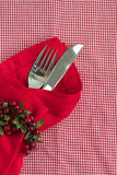 Christmas table place setting. With red serviette on a red checked gingham tablecloth Royalty Free Stock Photos