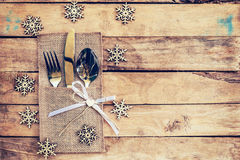 Christmas table place setting and silverware, snowflakes on tabl Stock Image