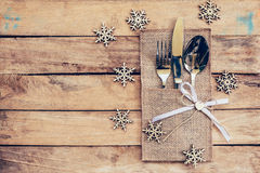 Christmas table place setting and silverware, snowflakes on tabl Stock Photography