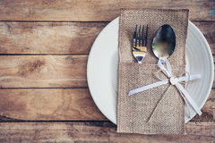Christmas table place setting and silverware on wood with space Royalty Free Stock Photo & Christmas Table Place Setting And Silverware On Wood With Space ...