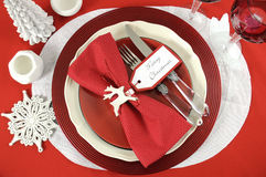 Christmas table place settings in red and white Stock Images