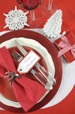 Christmas table place settings in red and white Stock Photo