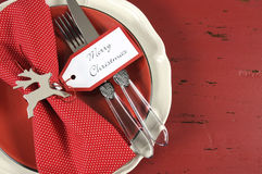 Christmas table place settings in red and white theme Royalty Free Stock Images