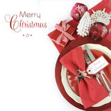 Christmas table place settings in red and white theme Stock Photos