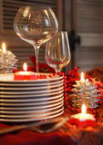 Christmas table preparations Royalty Free Stock Photo