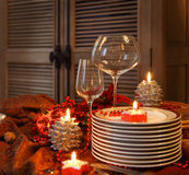 Christmas table preparations Royalty Free Stock Photography