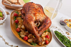 Christmas Table with Roasted Turkey Stock Photos