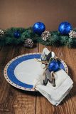 Christmas table, serving in blue tones Stock Photography