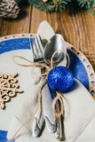 Christmas table, serving in blue tones Royalty Free Stock Image