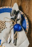 Christmas table, serving in blue tones Royalty Free Stock Images