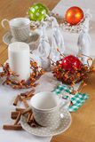 Christmas table set with cup and balls Stock Photo