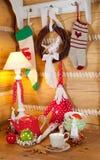 Christmas table set with fabric Santa Claus Royalty Free Stock Photos