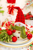 Christmas table set with funny snowman Stock Photo