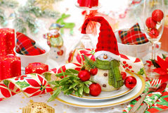 Christmas table set with funny snowman Stock Images