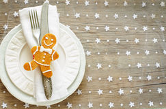 Christmas table settin Royalty Free Stock Image