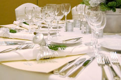 Christmas Table Setting. Complete table setting for a formal Christmas dinner Royalty Free Stock Photography