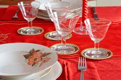 Christmas Table setting. A table setting for Christmas holidays. Also suitable for other celebration (christmas,new year,weddings Royalty Free Stock Photo