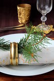 Christmas table setting. With a beautiful cloth and snowflake royalty free stock images