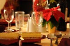 Christmas table setting. Photograph of a table setting at Christmas Stock Images