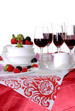 Christmas table setting. And wine Royalty Free Stock Photos