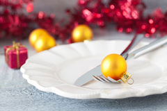 Christmas table setting. With ornament and cutlery Stock Image
