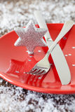 Christmas table setting. With star shape Stock Photo