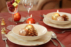 Christmas table setting Royalty Free Stock Images