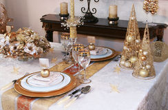 Christmas table setting. Luxury christmas table setting at home Royalty Free Stock Photography