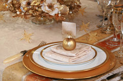 Christmas table setting. Luxury christmas table setting at home Stock Photo