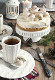 Christmas table setting with cake Royalty Free Stock Photography