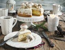 Christmas table setting with cake Stock Photo