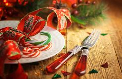 Christmas table setting. With candy canes stock photography