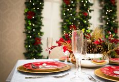 Christmas table setting for celebration at home royalty free stock photography