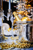 Christmas table setting with champagne Royalty Free Stock Images