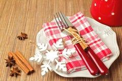 Christmas table setting with christmas decorations Stock Photos