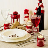 Christmas table setting. Christmas decorations. New Year Celebra Stock Photos