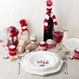 Christmas table setting. Christmas decorations. New Year Celebra Stock Photography