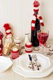 Christmas table setting. Christmas decorations. New Year Celebra Stock Images