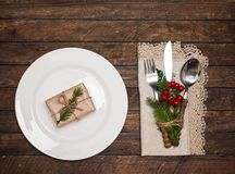 Christmas table setting with christmas decorations. Top view, co royalty free stock images
