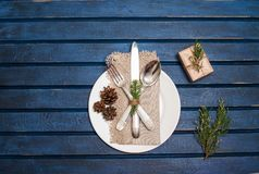 Christmas table setting with christmas decorations. Top view, co stock photos