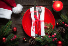Christmas table setting with christmas decorations. Stock Photography