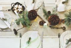 Christmas table setting. stock photos