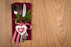 Christmas table setting, christmas menu concept in red, green and white color tone Stock Image