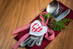 Christmas table setting, christmas menu concept in red, green and white color tone Stock Photos