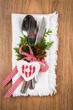 Christmas table setting, christmas menu concept in red, green and white color tone Royalty Free Stock Photography